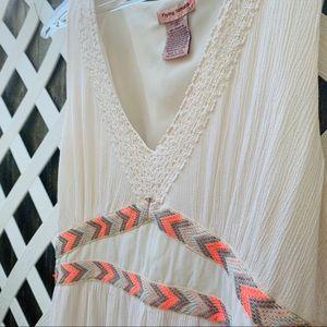 Flying Tomato Dresses - FLYING TOMATO BOHO MAXI DRESS CREAM Crochet L